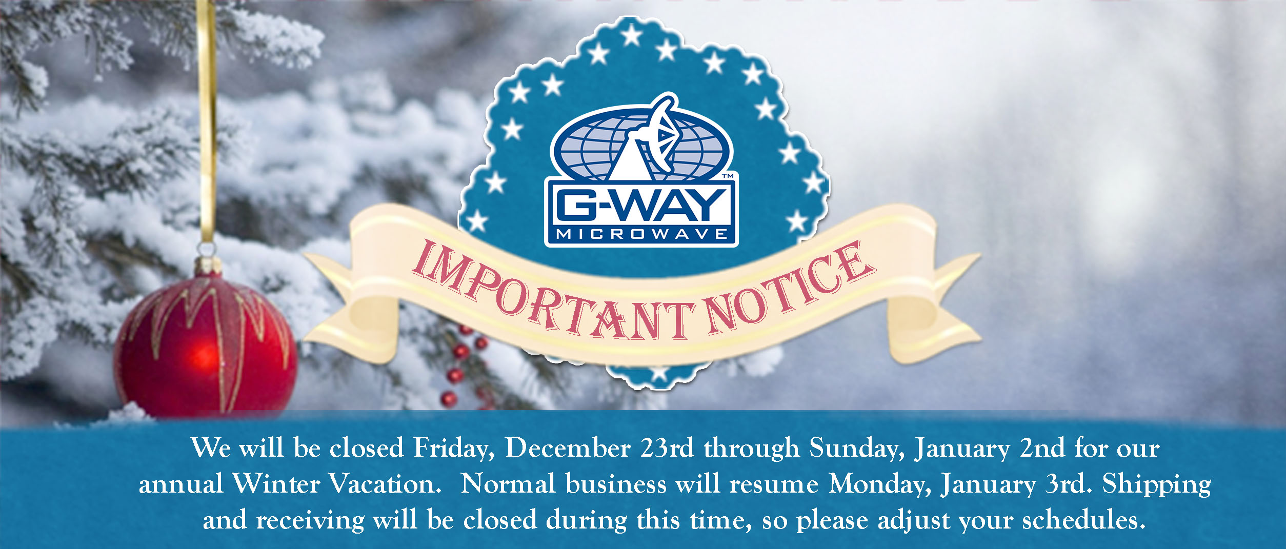 G-Way website banner holiday